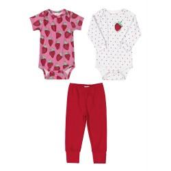 Kit Bebê Body Morango 3 Peças Vermelho